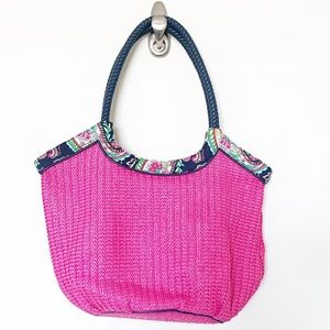 Vera Bradley pink woven tote with patterned top